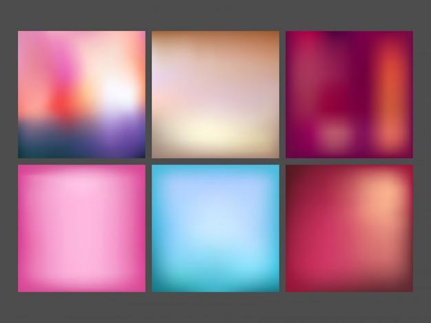 Tessuti lisci, colori gradienti impostano le collezioni per i manifesti.