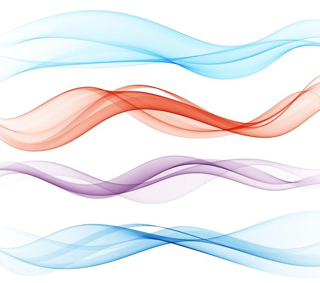 滑らかな波の流れ。カラーウェーブ。抽象要素のセット
