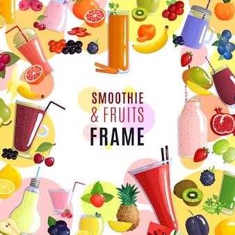 スムージーとフルーツのフレーム