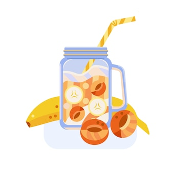 Smoothie banana and apricot cocktail