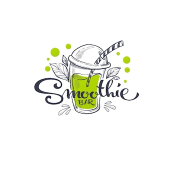 Smoothie bar,   sketching illustration and hand drawn lettering composition