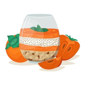 柿、チアシード、グラノーラとナッツのスムージーボウル。スーパーフード。トレンディな流行に敏感な朝食。