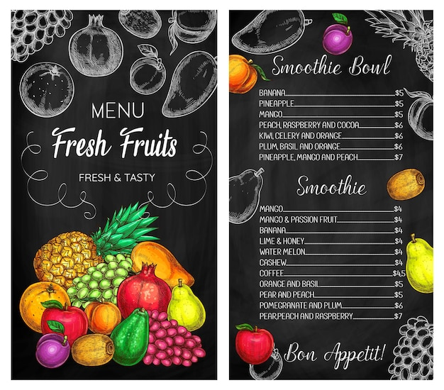 Smoothie cafe tropical fruits drinks chalkboard menu. pineapple, grape and pomegranate, pear, apple and plum, avocado, kiwifruit and orange, peach and mango sketch vector. drinks menu cover template