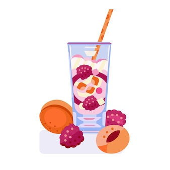 Smoothie cocktail with raspberries and apricots