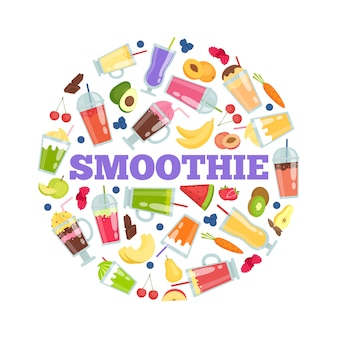 Smoothie cocktails in circle.  summer background isolate on white