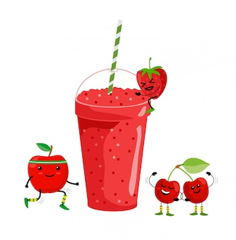 Smoothie drink. fresh summer fruit juice. red fruit smoothie. cute cartoon fruits with mug. drinking menu, healthy vegan lifestyle illustration