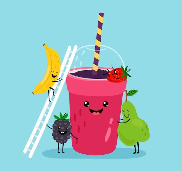 스무디 음료. 신선한 여름 과일 주스.