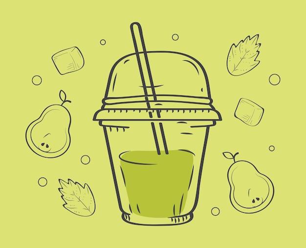 スムージーは緑と果物を飲みます