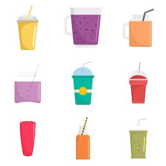 Smoothie fruit juice icons set