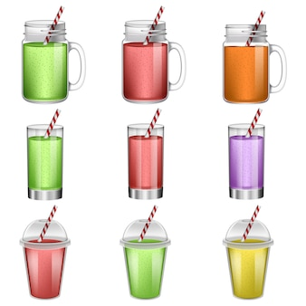 Smoothie fruit juice icons set