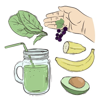 Smoothie how make beverage recipe illustration set