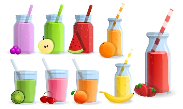Smoothie icon set, cartoon style