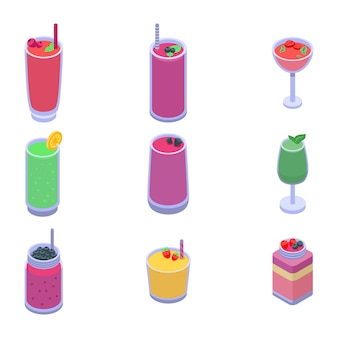 Smoothie icons set, isometric style