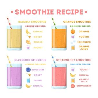 スムージーのレシピセット。ガラスのおいしい健康ドリンクのコレクション