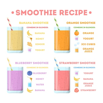 Smoothie recipe set. collection of tasty healthy drink in glass