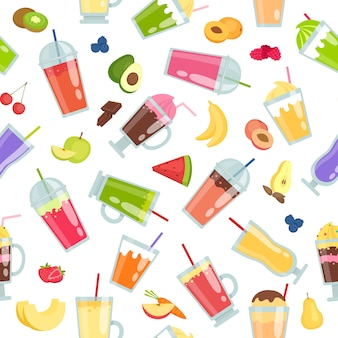 Smoothie seamless pattern with summer cocktails