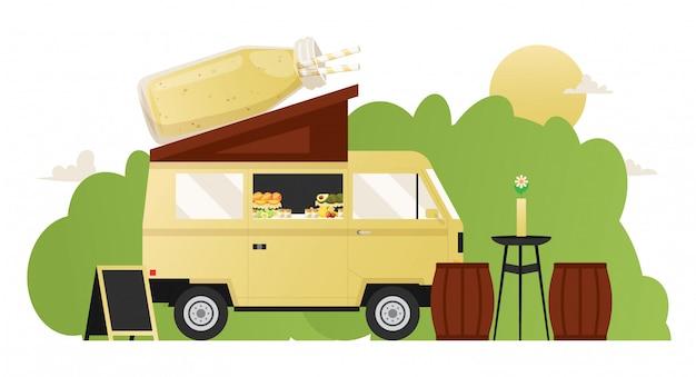 Коктейль летнее кафе, еда грузовик уличный фургон со здоровыми закусками, иллюстрация