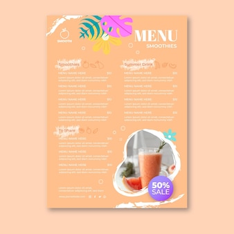Smoothies bar menu template