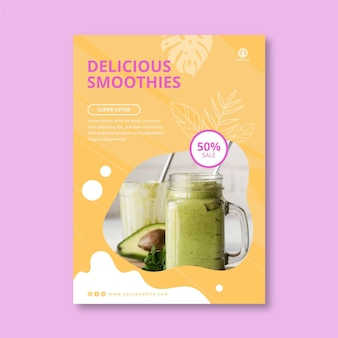 Smoothies bar vertical flyer template