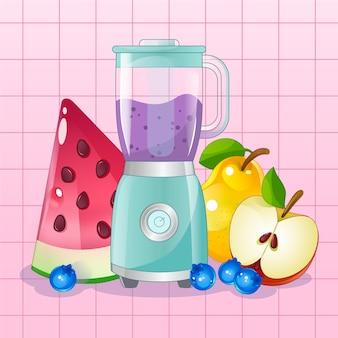 Bicchiere di frullatore per frullati con frutta intorno