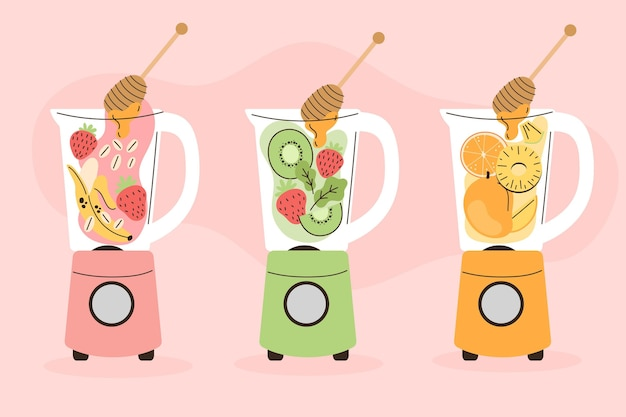 Smoothies in blender glass
