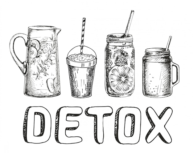 Smoothies or detox cocktail day poster in sketch style. set of hand drawn ingredients for a cocktail or detox drink in a mason cup, jar or jug. healthy food. illustration for poster, banner.