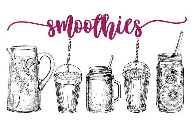 Smoothies or detox cocktail poster in sketch style set of hand drawn ingredients for a detox