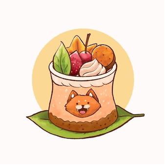 スムージーストロベリーケーキトッピングアートイラスト