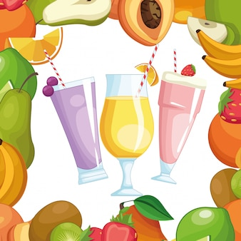 Smoothies with fruit frame
