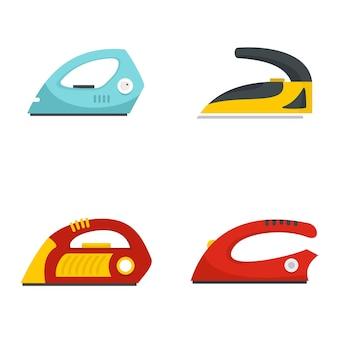 Smoothing iron drag icons set