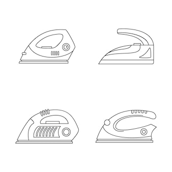 Smoothing iron drag icons set