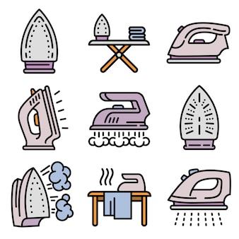 Smoothing-iron icons set, isometric style