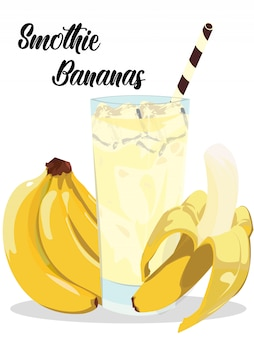 Smothie banana ice with realistic bananas