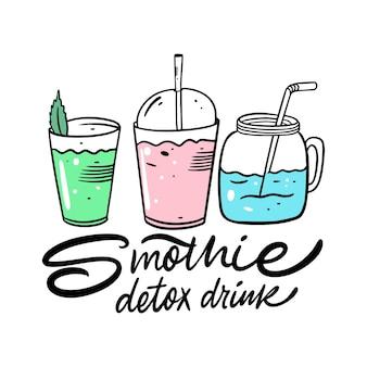 Smothie 건강 음료 세트. 유기농 제품. 만화 스타일. 삽화. 흰색 배경에 고립. 메뉴 카페와 바를위한 디자인.