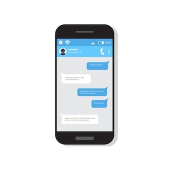 Смартфон с сообщениями sms bubble в чате