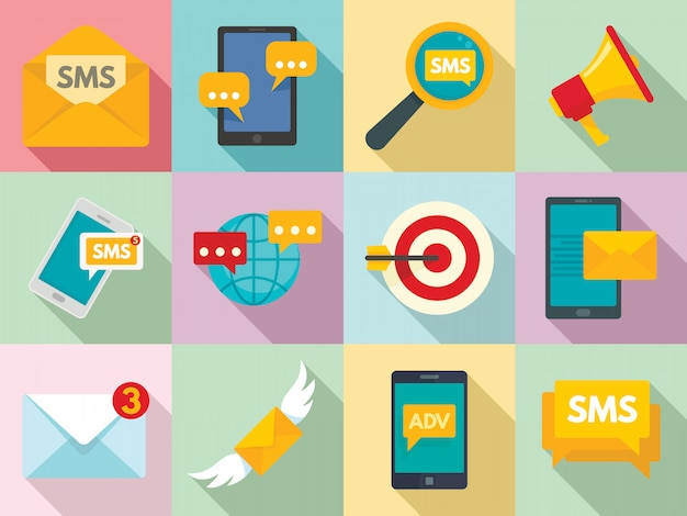 Sms marketing icons set, flat style