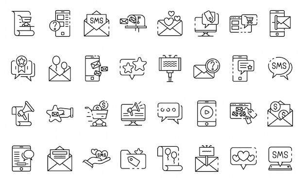 Sms marketing icons set, outline style