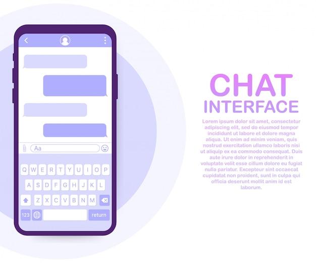 Приложение интерфейса чата с окном диалога. концепция дизайна чистый мобильный пользовательский интерфейс. sms messenger. векторная иллюстрация