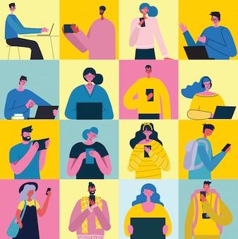 スマートフォンを持つ人々との接続概念の背景。チャット、メールメッセージング、sms、webサイト、webバナーのモバイルコンセプト