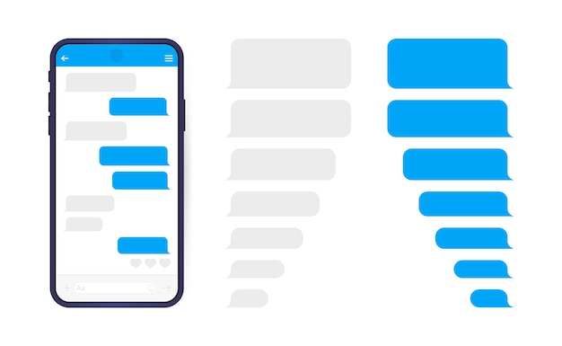 メッセンジャーチャット画面を備えたスマートフォン。会話を作成するためのsmsテンプレートバブル。