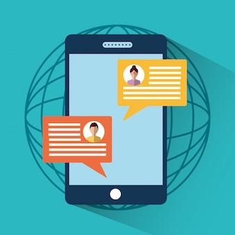 スマートフォンメッセージsmsチャットインターネットデジタル