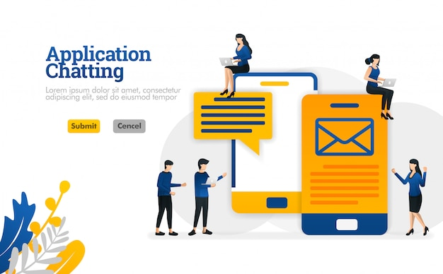 Smsおよび電子メールメッセージを送信するためのチャットおよび会話のアプリケーションベクトル図の概念