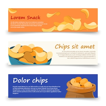 Snack banners template with potato chips set