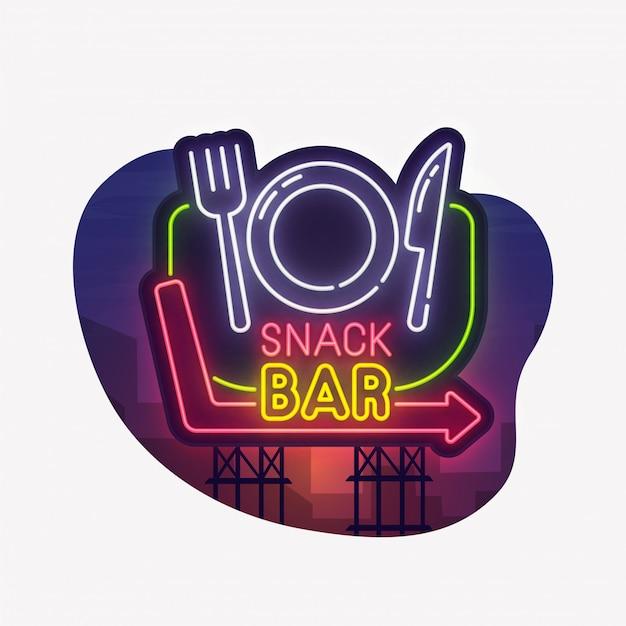 Snack bar neon sign sticker
