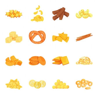 Snack cartoon icon set