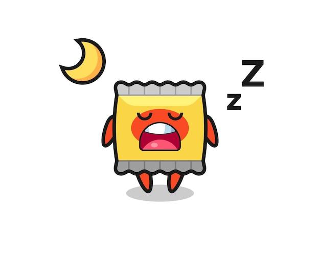 夜のおやつキャラクターイラスト、tシャツ、ステッカー、ロゴ要素のかわいいスタイルのデザイン
