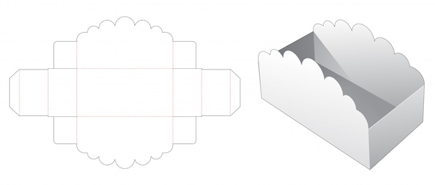 Snack container packaging die cut template