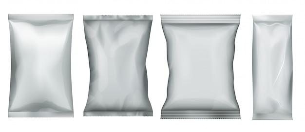 간식 팩. 비닐 봉투 및 호일 파우치 세트. 대량 식품 템플릿 용 알루미늄 패키지. 캔디 향 주머니