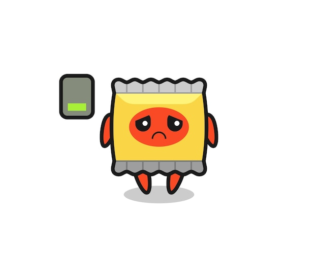 Snack mascot character doing a tired gesture , cute style design for t shirt, sticker, logo element