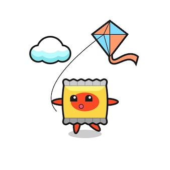Snack mascot illustration is playing kite , cute style design for t shirt, sticker, logo element